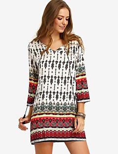 Damen Etuikleid Kleid-Ausgehen Lässig/Alltäglich Einfach Aktiv Druck V-Ausschnitt Übers Knie ¾-Arm Weiß Baumwolle Elasthan Alle Saisons