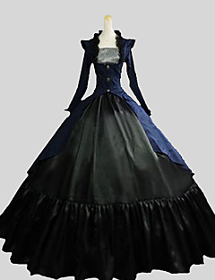 Outfits Gothic Lolita Victorian Cosplay Lolita Dress Ink Blue Solid Long Sleeve Ankle-length Coat Vest Skirt For Women Cotton