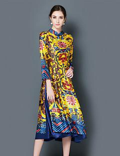 Žene Kinezerije Izlasci Party/zabava Širok kroj Haljina,Geometrijski oblici Dugih rukava Ruska kragna Midi Plava Žuta PoliesterSva