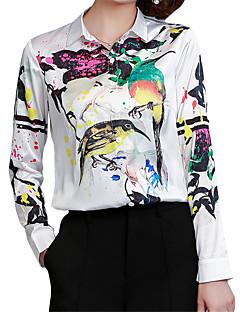Spring Fall Women Shirt Collar Long Sleeves Tops Fashion Printing Wild Slim Chiffon Shirt