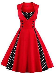 Žene Jednostavno Izlasci Plus veličine Swing kroj Haljina,Na točkice Cvjetni print Bez rukávů Okrugli izrez Midi Plava Crvena Zelena Pamuk