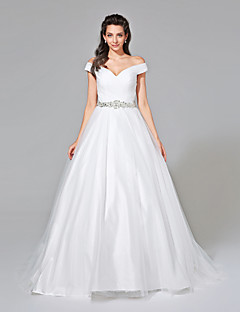 LAN TING BRIDE A-line Wedding Dress Open Back Floor-length V-neck Tulle with Beading Button