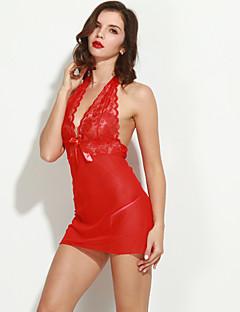 Damen Hemden & Kleider Dessous Nachtwäsche einfarbig Spitze Kern-gesponnenes Garn Rote