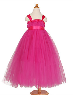 Princess Tea-length Flower Girl Dress - Polyester Tulle Straps with Bow(s)