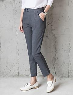Femme Droite Entreprise Pantalon,simple Travail Couleur Pleine Taille Normale fermeture Éclair Elasticité Coton Micro-élastiqueSangle
