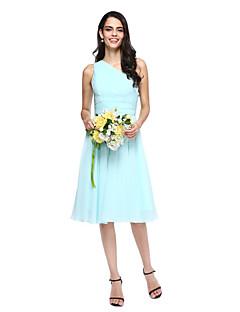 Lanting Bride® באורך  הברך שיפון שמלה לשושבינה - גזרת A כתפיה אחת עם בד נשפך בצד