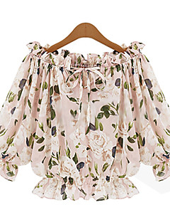 Women's Casual/Daily Simple Cute Spring Summer Blouse,Floral Boat Neck ½ Length Sleeve Beige Polyester Opaque Thin