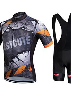 fastcute חולצת ג'רסי ומכנס קצר ביב לרכיבה לגברים שרוול קצר אופנייםנושם ייבוש מהיר חדירות ללחות 3D לוח מפחית שפשופים תומך זיעה רכות רך חלק