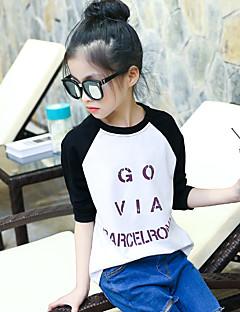 Mädchen T-Shirt Ausgehen Lässig/Alltäglich Urlaub Einfarbig Patchwork Baumwolle Frühling Herbst Lange Ärmel Normal