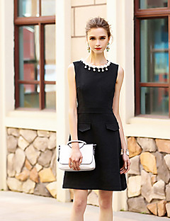 Women's Going out Casual/Daily Holiday Simple A Line Dress,Solid Round Neck Knee-length Sleeveless Cotton Polyester Red BlackSpring