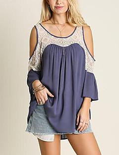 3/4 ærmelængde U-hals Medium Dame Blå Farveblok Forår Sommer Sexet Sødt Afslappet/Hverdag Ferie T-shirt,Polyester