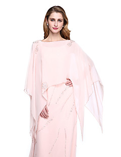 Women's Wrap Capelets Chiffon Wedding Beading