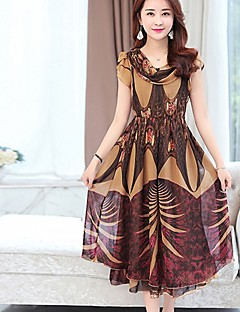 Women's Casual/Daily Holiday Vintage Swing Dress,Print Round Neck Midi Short Sleeve Polyester Brown Green Purple Spring High Rise