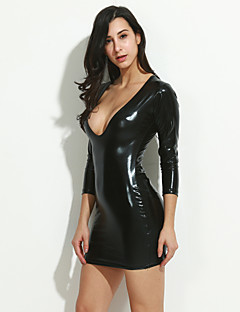 Women Ultra Sexy Nightwear,Sexy Solid-Medium Patent Leather Black