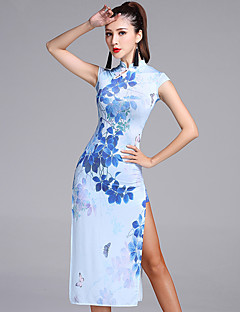 ריקוד לטיני שמלות בגדי ריקוד נשים ביצועים Chinlon ויסקוזה חלק 1 בלי שרוולים טבעי שמלה