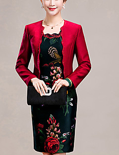 Women's Plus Size Going out Simple Bodycon Dress,Jacquard Beaded Round Neck Above Knee Long Sleeve Polyester Red Spring Fall Mid Rise