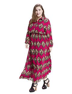 Women's Plus Size Vintage Chiffon Dress,Print Square Neck Maxi Long Sleeve Cotton Polyester Spring Summer High Rise Micro-elastic Medium