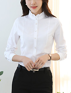 Women's Going out Simple Spring Summer Shirt,Solid Stand Long Sleeve White Black Gray Cotton Polyester Medium