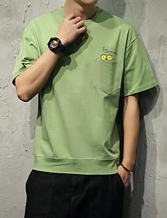 メンズ カジュアル/普段着 スポーツ オールシーズン Tシャツ,シンプル 活発的 ラウンドネック ソリッド ピンク ホワイト グリーン コットン 半袖 薄手