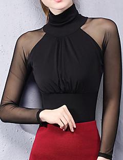 Feminino Camiseta Para Noite Casual Simples Moda de Rua Primavera Outono,Sólido Retalhos Rosa Vermelho Branco Preto Cinza PoliésterGola