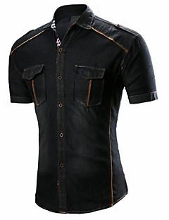 Bomull Blå Sort Medium Tynn Kortermet,Skjortekrage Skjorte Ensfarget Vår Sommer Enkel Fritid/hverdag Herre