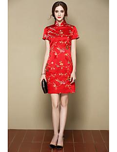 Damen A-Linie Kleid-Ausgehen Party/Cocktail Niedlich Chinoiserie Blumen Ständer Übers Knie Kurzarm Rot Gelb Seide Frühling SommerMittlere