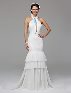 TS Couture Prom / Formal Evening Dress - Celebrity Style Fit & Flare Halter Court Train Tulle with Bow(s) Tassel(s)