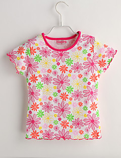 Baby Casual/Daily Floral Tee-Cotton-Summer-Red