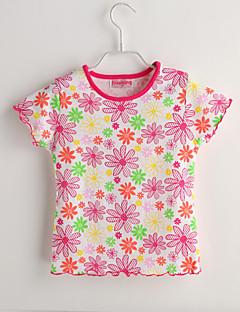 Baby Fritid/hverdag T-skjorte Blomstret-Bomull-Sommer-Rød