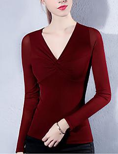 Feminino Camiseta Para Noite Casual Tamanhos Grandes Simples Moda de Rua Primavera Outono,Retalhos Rosa Vermelho Branco Preto Cinza