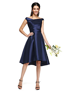A-Line Off-the-shoulder Asymmetrical Mikado Bridesmaid Dress with Side Draping by LAN TING BRIDE®
