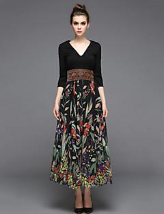 Damen A-Linie Kleid-Lässig/Alltäglich Einfach Druck V-Ausschnitt Maxi ¾-Arm Schwarz Baumwolle Frühling Sommer Hohe Hüfthöhe Unelastisch