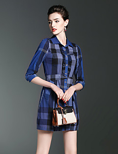 Burdully Going out Cute A Line DressPrint Notch Lapel Above Knee  Length Sleeve Cotton Blue Red White Spring Summer Mid Rise Inelastic