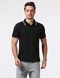 Bomull Kortermet,Skjortekrage Polo Fargeblokk Enkel Ut på byen Fritid/hverdag Arbeid Herre