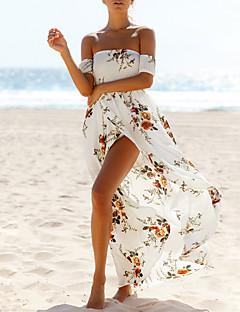 Feminino Bainha Vestido, Para Noite Praia Sensual Vintage Floral Decote Canoa Longo Manga Curta Branco Poliéster Verão Cintura Alta