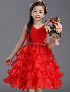 Ball Gown Knee-length Flower Girl Dress - Organza Sleeveless Jewel with Beading