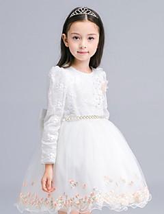 שמלת נשף קצר / מיני פרח ילדה שמלה - אורגנזה שרוולים ארוכים תכשיט צוואר עם applique ידי ydn