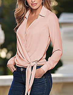 Women's Going out Simple Shirt,Solid Shirt Collar Long Sleeve Pink Cotton