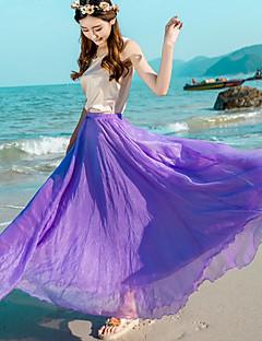 נדנדה אחיד שיפון חצאיות,בוהו חוף חג,מקסי גיזרה גבוהה גמישות זהורית Polyesteri קשיחות סתיו