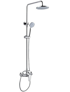 現代風 アールデコ調/レトロ風 近代の バスタブとシャワー サーモスタットタイプ レインシャワー ハンドシャワーは含まれている with  セラミックバルブ シングルハンドル二つの穴 for  クロム , シャワー水栓