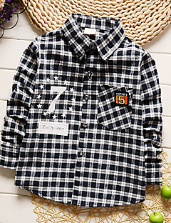 Boy's Going out Casual/Daily Holiday Patchwork Plaid Shirt Blouse Cotton Spring/Fall Long Sleeve Regular Children's Garments