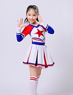 Fantasias para Cheerleader Roupa Crianças Actuação Elastano Pano 2 Peças Manga Comprida Saia Topo