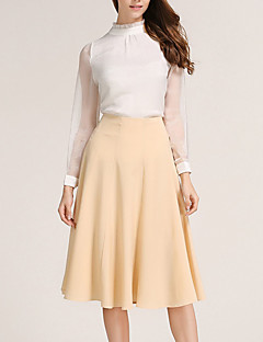 Röcke,A-Linie einfarbig Patchwork,Lässig/Alltäglich Einfach Mittlere Hüfthöhe Knielänge Reisverschluss Polyester Micro-elastisch