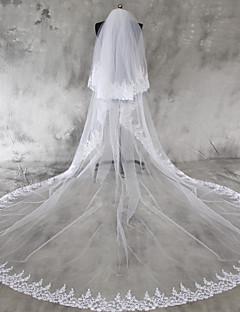 Véus de Noiva Duas Camadas Véu Capela Véu Catedral Borda com aplicação de Renda Tule Renda