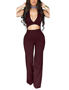 Women's Backless  Wide Leg JumpsuitsCasual/Daily Club Sexy Simple Solid Backless Slim Cut Out Deep V Sleeveless High Rise Micro-elastic Summer Fall