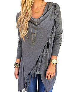여성 솔리드 라운드 넥 긴 소매 티셔츠,빈티지 스트리트 쉬크 데이트 비치 레드 화이트 그레이 면 봄 여름