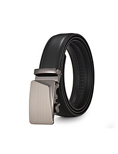 Men's Black Leather Waist Belt Suits Dress Silver Automatic Belt Buckle