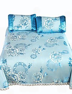 Blumen Bettbezug-Sets 3 Stück Polyester Luxuriös Jacquard Polyester ca. 1,90 m breites Doppelbett 2 Stk. Kissenbezüge 1 Stk. Betttuch