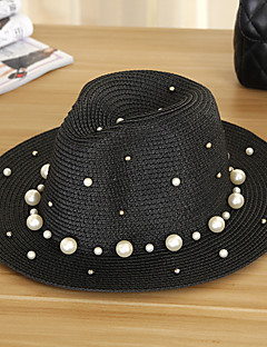 Women Simple Foldable Straw Sun Hat Beach Hat Pearls Casual Summer