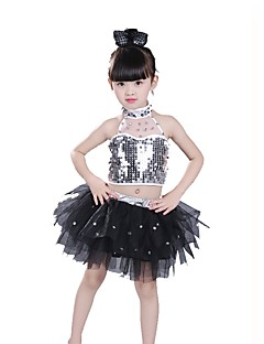 Jazz Outfits For Girls Performance Spandex Sequined Sequins 3 Pieces Sleeveless Natural Top Skirt Headpieces
